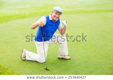 Golfozó térdel férfi klub portré labda Stock fotó © photography33