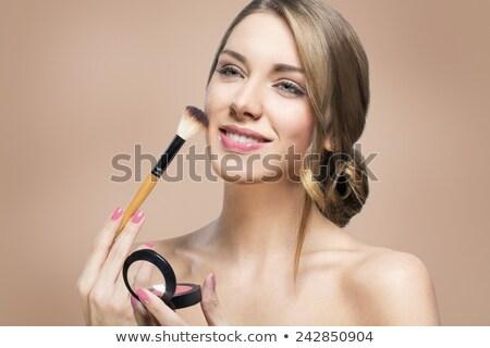 Vonzó nő alap ecset arc divat test Stock fotó © photography33