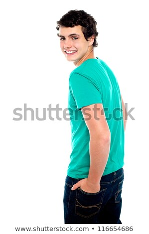 divatos · fiatal · fickó · hát · néz · mosoly - stock fotó © stockyimages