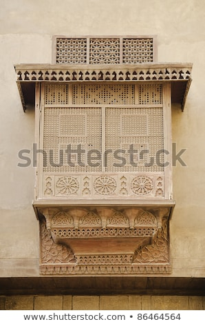 traditional carved wood window in cairo egypt stock photo © travelphotography