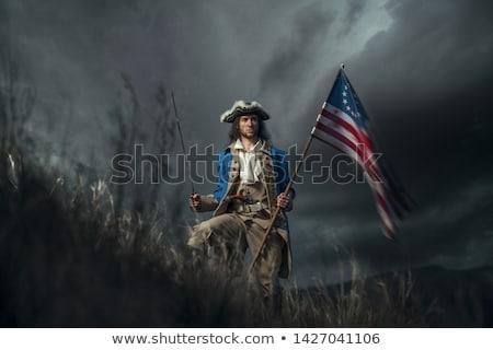 Foto stock: Homem · histórico · soldados · uniforme · vermelho · teatro