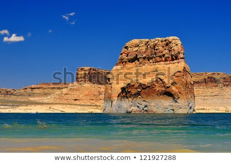 Solitary rock in the middle of Lake Powell Stock photo © jaymudaliar