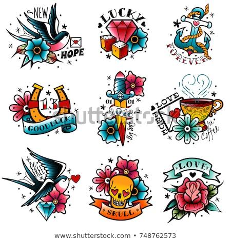 tetoválás · terv · tavasz · rózsa · természet · szépség - stock fotó © creative_stock