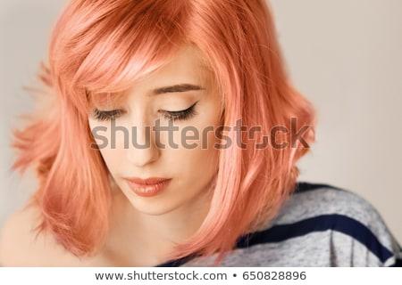Stockfoto: Meisje · oranje · haren · topless · vrouw · naakt