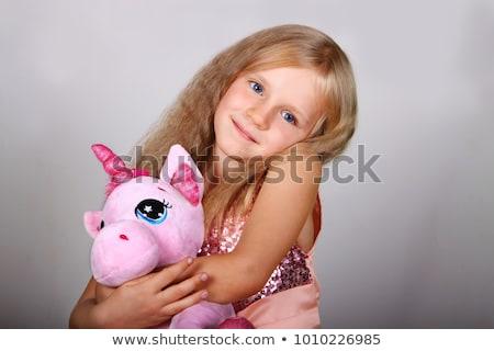 Bastante nina rosa vestido felpa juguetes Foto stock © acidgrey