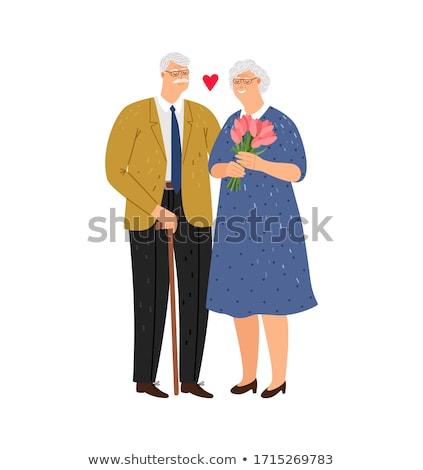 Feleség virágok nő pár szemüveg idős Stock fotó © photography33