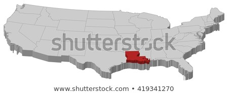 Louisiana Red Abstract 3D State Map United States America stock photo © iqoncept