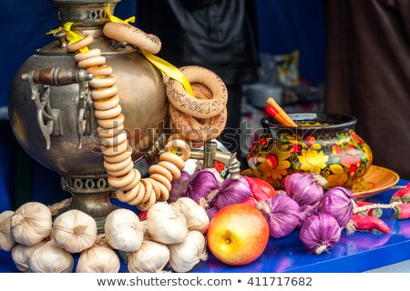 Russian samovar on a table with sweets Stock photo © Zhukow