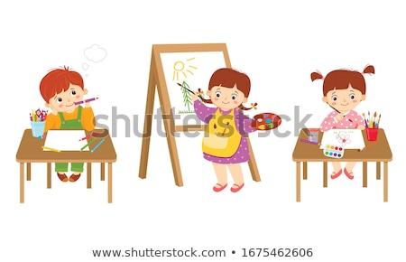 Desenho animado menina pintura 3d render pronto pintar Foto stock © AlienCat