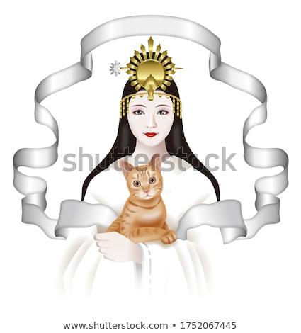 fantasy drawing of a woman cat stock photo © lvjonok
