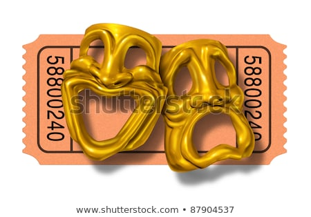 Movie ticket stub with gold comedy and tragedy masks Stock photo © Lightsource