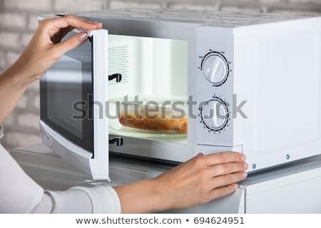 ezüst · mikró · sütő · nyitott · ajtó · fehér · ablak - stock fotó © kyolshin