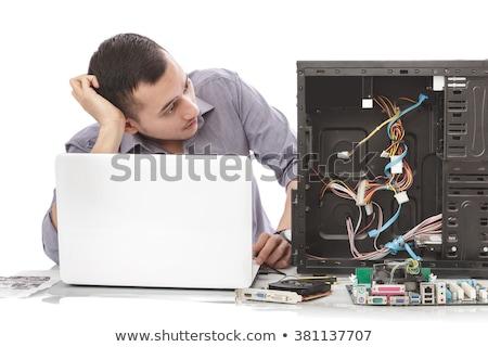zavart · fiatal · számítógép · mérnök · megjavít · alkatrészek - stock fotó © wavebreak_media