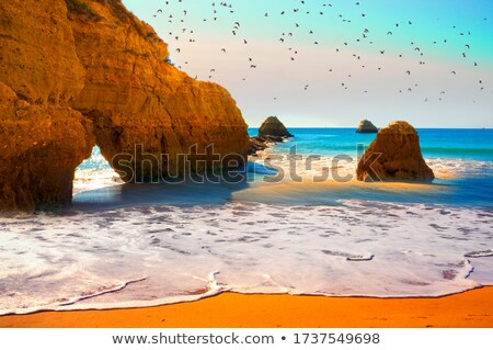 Plaj kaya oluşumu çok kaya gökyüzü bulutlar Stok fotoğraf © morrbyte