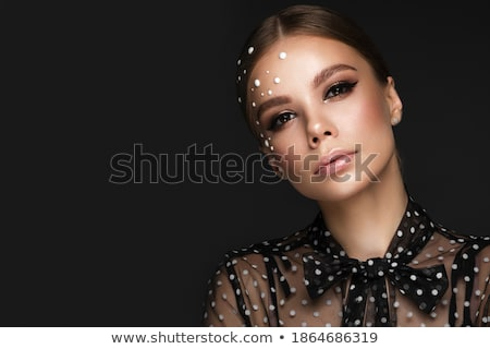 Jewelry and Makeup. Fashion portrait of beautiful woman with pea Stock photo © Victoria_Andreas