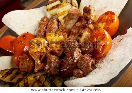 クローズアップ · 燃焼 · 煙 · 肉 · 調理 · ピクニック - ストックフォト © fanfo