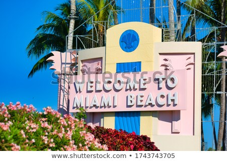 Майами центра Флорида дорожных знаков ключевые автомобилей Сток-фото © lunamarina