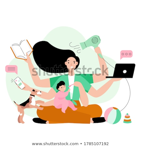 busy house keeping woman stock photo © lordalea