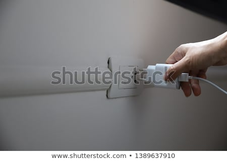 hand holding black electrical plug with wire Stock photo © dolgachov