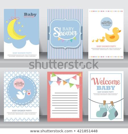 Stockfoto: Baby · douche · kaart · teddybeer · speelgoed · gelukkig