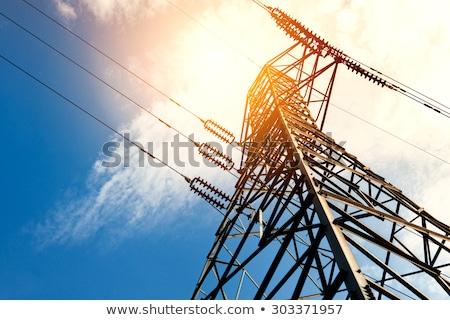 高い 緊張 電気 線 ファーム 土地 ストックフォト © wolterk