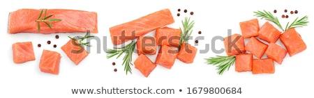 Kawałek łososia odizolowany ryb czerwony Zdjęcia stock © taden