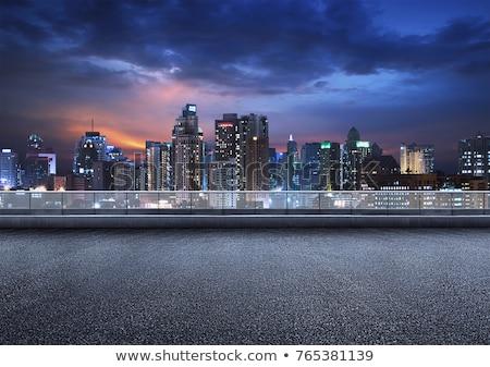 Colorido nocturna de la ciudad escena moderna rascacielos construcción Foto stock © elwynn