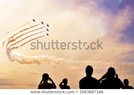 Stock fotó: Levegő · előadás · csapat · háttér · füst · repülőgép