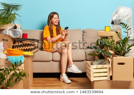 Chat by phone woman and expensive furniture Stock photo © vetdoctor