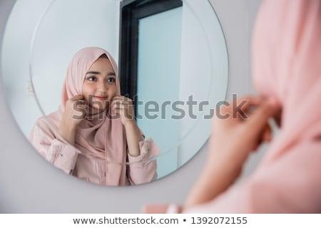 Stock fotó: Divat · lányok · néz · tükör · kecses · élvezi