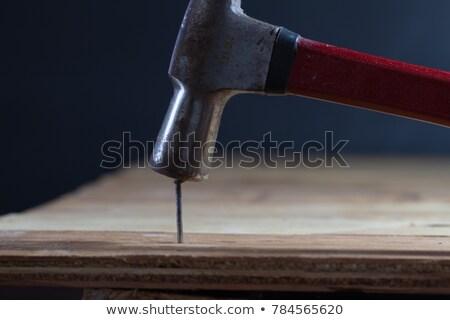 молота · ногти · древесины · доска · копия · пространства - Сток-фото © ambientideas