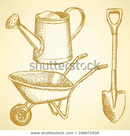 Sketchwatering can, shovel and barrow, vector  background Stock photo © kali