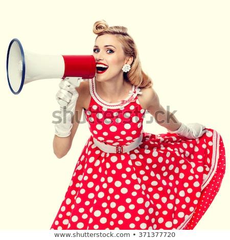aranyos · gyönyörű · szőke · nő · piros · pöttyös - stock fotó © dash