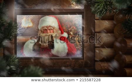 Stockfoto: Kerstman · workshop · venster · noordpool · zie