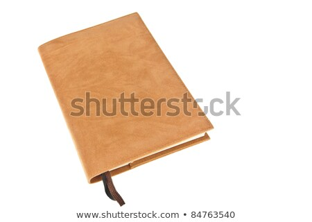 One brown velvet book with bookmark isolated on white background Stock photo © FrameAngel