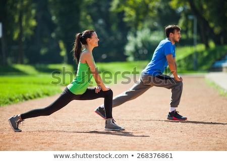 souriant · athlétique · jeune · femme · up · exercice - photo stock © darrinhenry