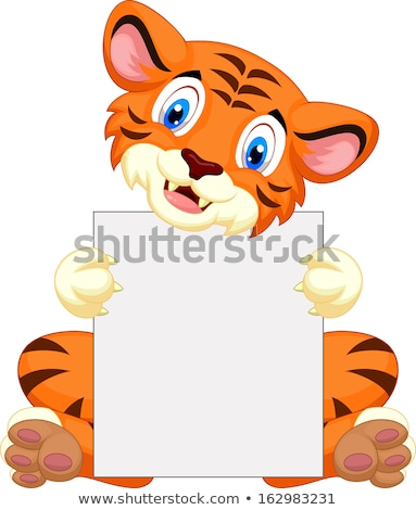 Cat holding a blank sheet of paper Stock photo © orensila
