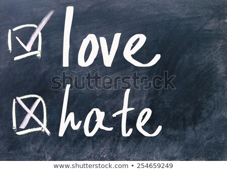 blackboard with the word hate cross out stock photo © alexmillos