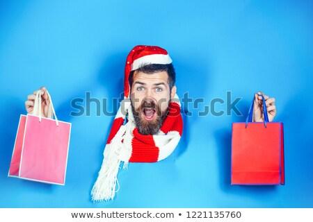 karácsony · üdvözlőlap · tél · tájkép · piros · zöld - stock fotó © dessters