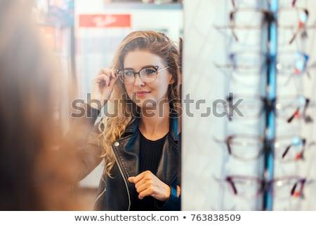 Vrouw bril winkelen mooie meisje zakken Stockfoto © Kor