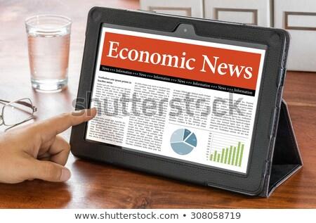 Tableta escritorio económico noticias ordenador café Foto stock © Zerbor
