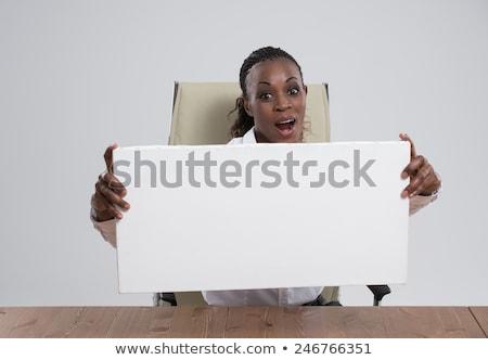Afrikai üzletasszony portré munkahely fehér tábla mosolyog Stock fotó © HASLOO