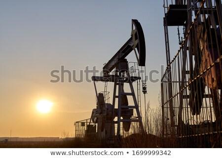 Poço de petróleo bombear inverno tempo Kansas EUA Foto stock © benkrut