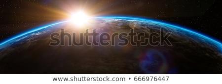 Zonsopgang planeet ruimte zon zonsondergang Stockfoto © sdecoret