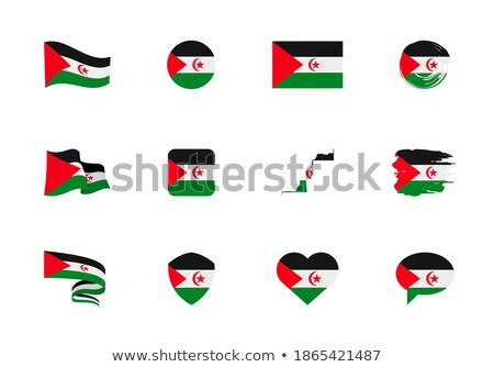 Foto stock: Mapa · bandera · botón · occidental · sáhara · vector