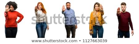 obraz · niezadowolony · człowiek · środkowy · palec - zdjęcia stock © magann