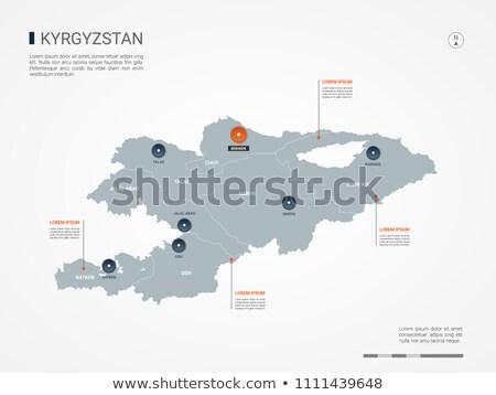 Oranje knop afbeelding kaarten Kirgizië vorm Stockfoto © mayboro