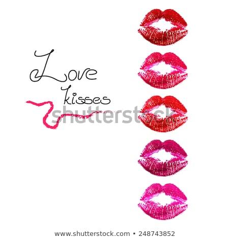Сток-фото: поцелуй · губ · помада · красный · тропе · белый
