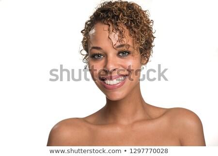 mulher · jovem · posando · topless · nu · ombros - foto stock © stockyimages
