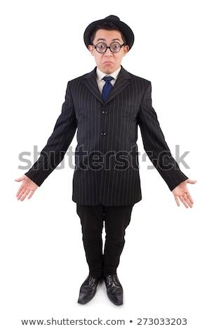 Foto stock: Engraçado · cavalheiro · listrado · terno · isolado · branco